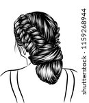 woman with stylish braided bun... | Shutterstock .eps vector #1159268944