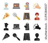 a pizza cutter  a slice  a menu ... | Shutterstock . vector #1159284037