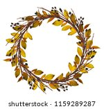 round wreath from dry twigs and ... | Shutterstock . vector #1159289287
