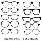 glasses vector set. Retro, wayfarer, aviator frames