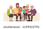 big happy family sitting on the ... | Shutterstock .eps vector #1159322791