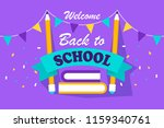 back to school banner in a flat ... | Shutterstock .eps vector #1159340761