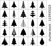 christmas tree silhouette... | Shutterstock .eps vector #115935325