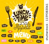 lunch time  fork  knife  menu.... | Shutterstock .eps vector #1159383061