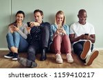 group of diverse young... | Shutterstock . vector #1159410217