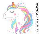 white unicorn head vector... | Shutterstock .eps vector #1159442944
