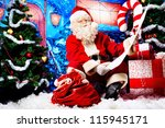 Santa Claus Posing With A List...