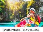 traveler asian girl in colorful ... | Shutterstock . vector #1159460851