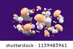 orange mushroom among colorful... | Shutterstock . vector #1159485961