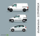 mocup set of white car  cargo... | Shutterstock .eps vector #1159490614