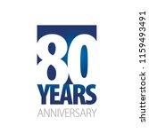 80 years anniversary blue white ... | Shutterstock .eps vector #1159493491