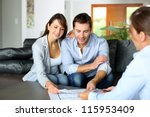 couple meeting consultant for... | Shutterstock . vector #115953409