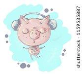 cute little pig character... | Shutterstock .eps vector #1159535887
