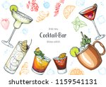 alcoholic cocktails hand drawn... | Shutterstock .eps vector #1159541131