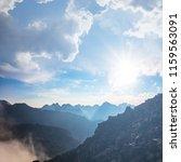 mountain valley in a blue mist... | Shutterstock . vector #1159563091