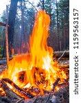 closeup touristic camp fire in... | Shutterstock . vector #1159563157