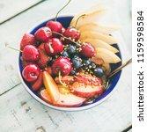 healthy breakfast smoothie bowl ... | Shutterstock . vector #1159598584