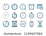 time and watch related line... | Shutterstock .eps vector #1159607584