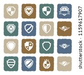 shield icons. grunge color flat ...