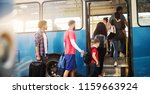 group of people is standing in... | Shutterstock . vector #1159663924