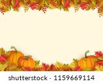 autumn leaves and pumpkins... | Shutterstock .eps vector #1159669114