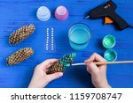 making christmas tree of cones. ... | Shutterstock . vector #1159708747