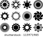 Collection of vectorized suns - stock vector