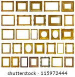 Set of 30 gold picture frames....