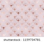 Stock vector art deco seamless pattern with rose gold decorative flowers shapes 1159734781