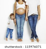 pregnant mother taking her hand ... | Shutterstock . vector #115976071