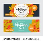 autumn sale banner set with... | Shutterstock .eps vector #1159803811
