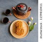 popular mooncake eaten during...   Shutterstock . vector #1159810411