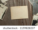 frame old photos on table. mock ... | Shutterstock . vector #1159828237
