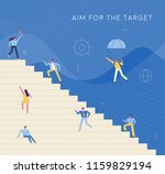 business person climbing stairs ... | Shutterstock .eps vector #1159829194