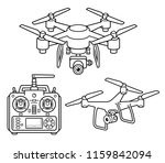 drone silhouette icons set.... | Shutterstock .eps vector #1159842094