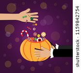 trick or treat. adult give... | Shutterstock .eps vector #1159842754