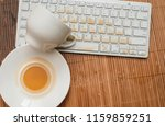 poured a cup of coffee on the... | Shutterstock . vector #1159859251