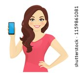 cheerful woman holding phone... | Shutterstock .eps vector #1159861081