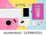 office desk working space flat... | Shutterstock . vector #1159863151