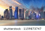 Stock photo skyline of west bay and doha city center during sunrise qatar 1159873747