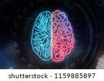 abstract circuit brain on dark... | Shutterstock . vector #1159885897
