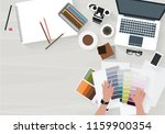 woman working choose a color...   Shutterstock .eps vector #1159900354