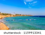 sunny resort beach with palm... | Shutterstock . vector #1159913341