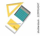 pencils in a box and ruler ... | Shutterstock .eps vector #1159914247