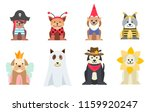 set of dogs wearing halloween... | Shutterstock .eps vector #1159920247