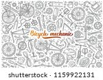 hand drawn bicycle mechanic set ... | Shutterstock .eps vector #1159922131
