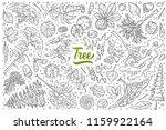 hand drawn tree set doodle... | Shutterstock .eps vector #1159922164