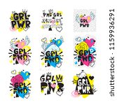 typography colorful slogan girl ... | Shutterstock .eps vector #1159936291