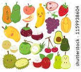 set of cute fruits with... | Shutterstock .eps vector #1159938604