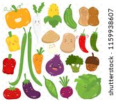 set of cute vegetables with... | Shutterstock .eps vector #1159938607